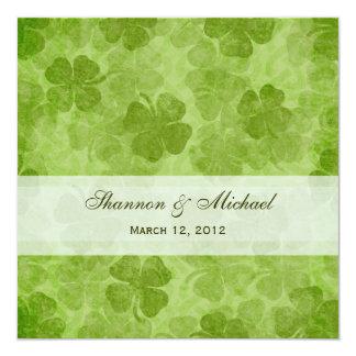 Kleeblatt-irische Hochzeits-Einladung Quadratische 13,3 Cm Einladungskarte