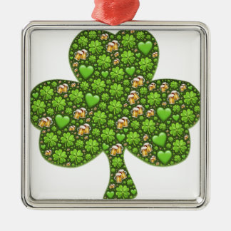 Kleeblatt-Klee-Bier-St Patrick Tag, Pattys Silbernes Ornament