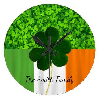 Kleeblatt-Klee-Grün-irische Flagge Irland Große Wanduhr