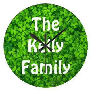 Kleeblatt-Klee-Grün-irisches Symbol Irland Große Wanduhr