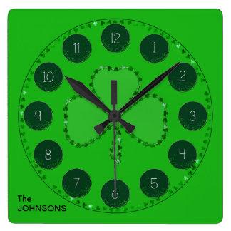 Kleeblatt-quadratische Wand-Uhr Quadratische Wanduhr