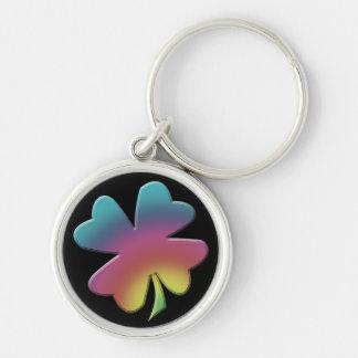 Kleeblatt-Regenbogen auf Schwarzem Schlüsselanhänger