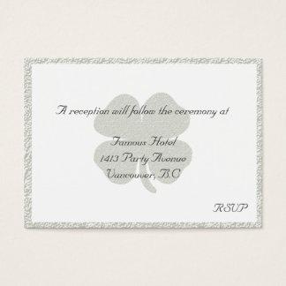 Kleeblatt-silberne gerahmte Hochzeits-Empfang UAWG Visitenkarte