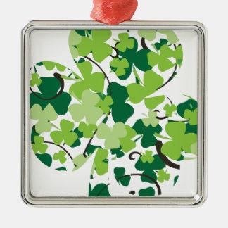Kleeblatt Silbernes Ornament