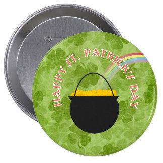 Kleeblatt-St Patrick Tagesknopf Runder Button 10,2 Cm