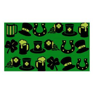 Kleeblatt-Topf St. Patricks TagesGoldgrün-Bier Visitenkarten Vorlage
