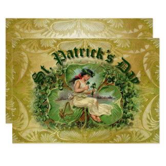 Kleeblatt u. irischer Harfen-Segen - flaches 1C Karte