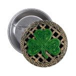 Kleeblatt und keltisches Knoten-Knopf-Schwarzes Button