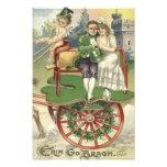 Kleeblatt-verheirateter Paar-Pferdewagen-Engel Kunstfoto