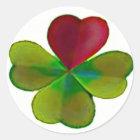 Kleeblätter mit Herz Runder Aufkleber