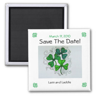 Kleeblätter Save the Date! Am 17. März 2010 Quadratischer Magnet