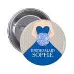 Kleid des königlichen Blaus der Brautjungfer Runder Button 5,7 Cm
