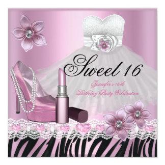 Kleiderlippenstift 2 Zebra-rosa schwarzer 16. Quadratische 13,3 Cm Einladungskarte