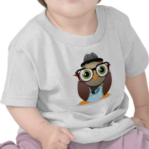 Klein Gedrucktes der Hipster-Eule T-shirt