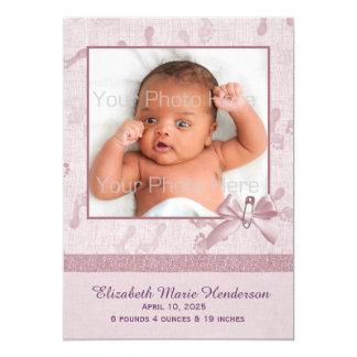 Kleine Abdrücke, Malvenfarbe, Baby-Foto-Mitteilung Karte