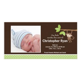Kleine Affe-Baby-Jungen-Geburts-Foto-Mitteilung Photo Karte