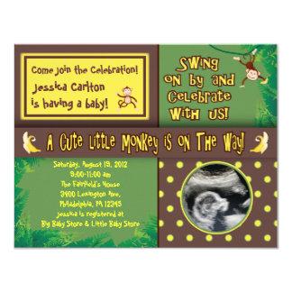 Kleine Affe-Babyparty-Einladung 10,8 X 14 Cm Einladungskarte