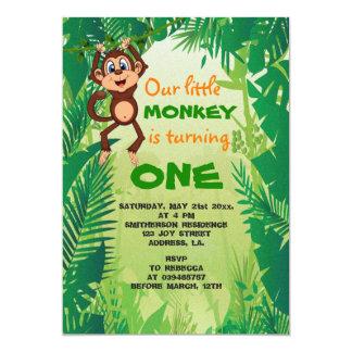 Kleine Affe-Geburtstags-Einladung Karte