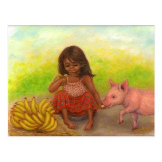 Kleine Bananen-Verkäufer-Postkarte Postkarte