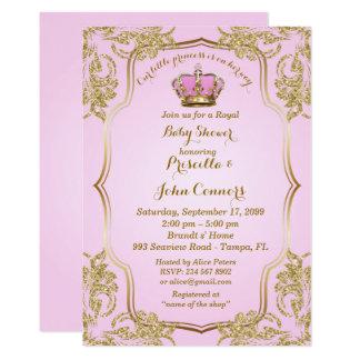 Kleine Einladung Prinzessin Babyparty, Gold, Rosa