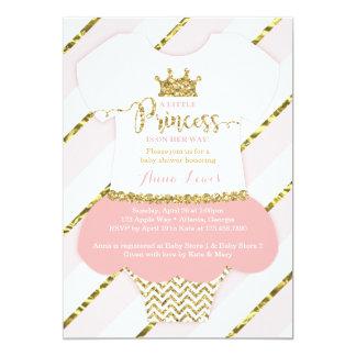 Kleine Einladung Prinzessin-Babyparty, Rosa, Gold