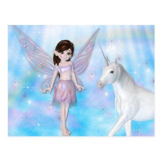 Kleine Entwürfe der Fee-w/Unicorn Postkarten