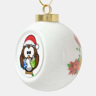 Kleine Eule Sankt Keramik Kugel-Ornament