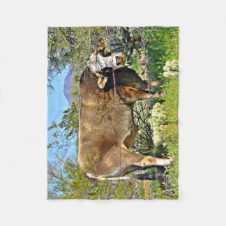 Kleine Fleece-Decke - Sonoran Brown Kuh Fleecedecke