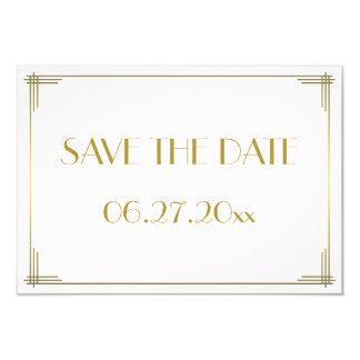 Kleine Gatsby Goldkunst-Deko-Save the Date Karte