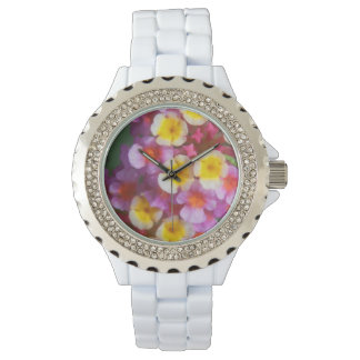 Kleine gelbe rosa und lila tropische Blumen Armbanduhr