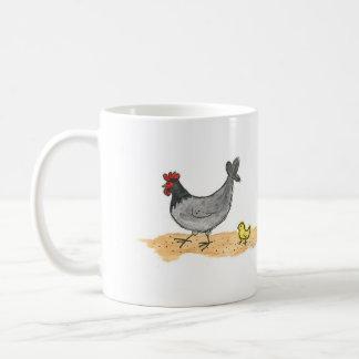Kleine graue Henne und Küken Kaffeetasse