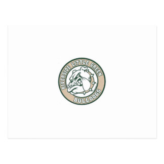 Kleine grüne Bulldoggen Postkarte