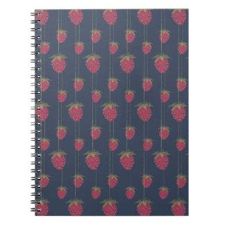 Kleine hängende Erdbeeren Spiral Notizblock