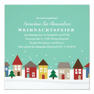 Kleine Häuser Winter-Einweihungsparty einladen Quadratische 13,3 Cm Einladungskarte