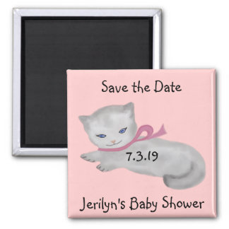 Kleine Kätzchen-Baby-Duschen-Save the Date Magnete