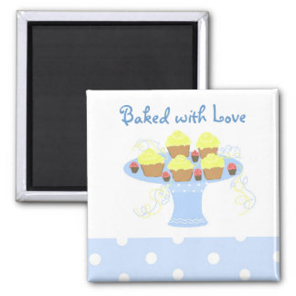 Kleine Kuchen gebacken mit Liebe Quadratischer Magnet