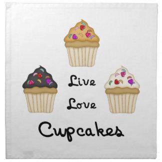 Kleine Kuchen leben Liebe Serviette
