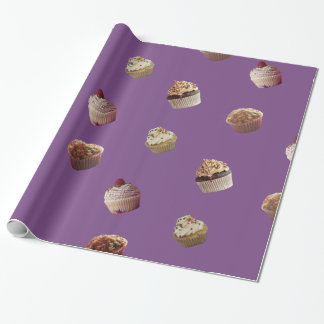 Kleine Kuchen, lila glattes Verpackungs-Papier Geschenkpapier