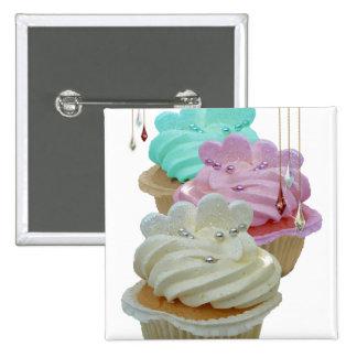 Kleine Kuchen mit Bling! Quadratischer Button 5,1 Cm
