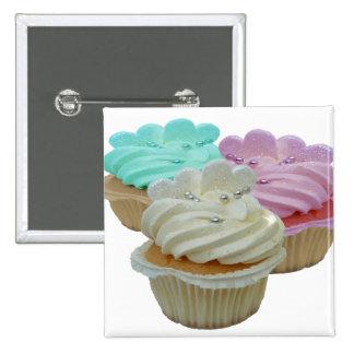 Kleine Kuchen und Herzen Quadratischer Button 5,1 Cm