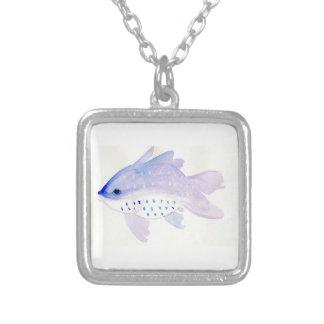 Kleine lila Fisch-Halskette Versilberte Kette
