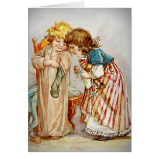 Kleine Mädchen, die Strümpfe öffnen Karte