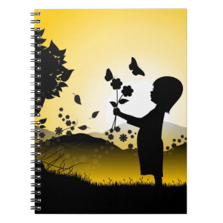 Kleine Mädchen-Sammeln-Blumen-Illustration Spiral Notizblock
