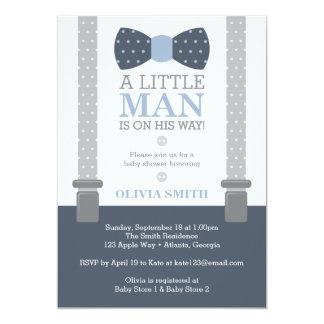 Kleine Mann-Babyparty-Einladung, Marine-Blau, grau Karte