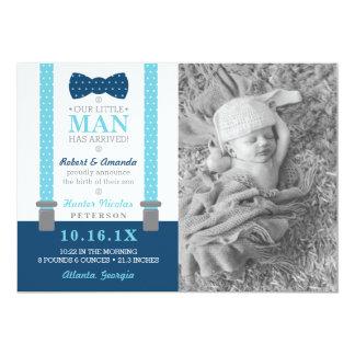 Kleine Mann-Geburts-Mitteilung, Blau, grau Karte