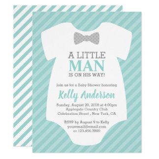 Kleine Mann-Jungen-Babyparty-Einladung - Blau Karte