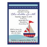 Kleine Marine-Blau-Segel-Boots-Babyparty-Einladung Postkarte