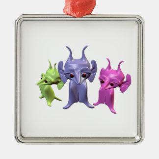 Kleine Marsmenschen Quadratisches Silberfarbenes Ornament