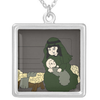 Kleine Mary und Jesus Versilberte Kette