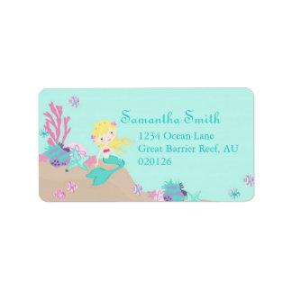 Kleine Meerjungfrau-Adressen-Etikett Blondine Adressaufkleber